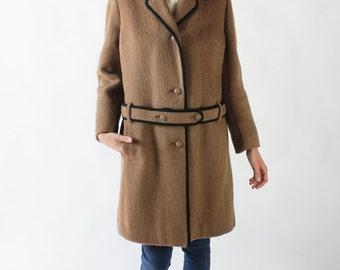 30% OFF SALE Vintage 60s Brown & Black Wool Winter Coat with Waist Belt   6/8