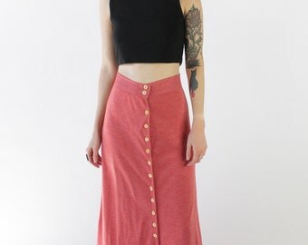 30% OFF SALE Vintage 70s Salmon Pink Button Front Tshirt Maxi Skirt | 0/2