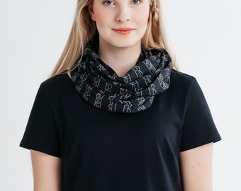infinity scarf, black organic jersey with lace print