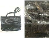 EGYPTIAN HIEROGLYPHIC  Black patent leather faux handbag  80s Illuminati  Isis Osiris Anubis