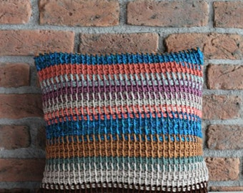 Knitted Cushion Hand Knit Pillow Case Blue Grey Brown Black Striped Pillow Boho Throw Decorative Pillow Case Crochet Pillow Cozy Winter