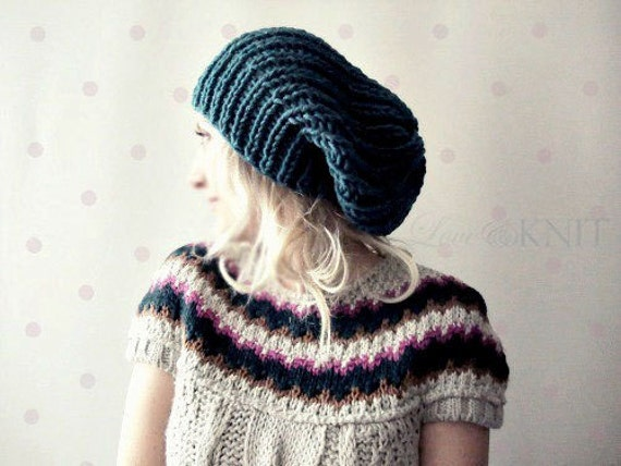Teal Slouchy Hat, Slouchy Beanie, Knit Slouchy Hat, Womens, Womens Gift, Grunge Beanie, Gift for Her, Mens Winter Hat, Christmas Gift