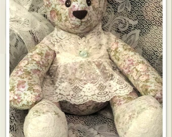 Heirloom Blue With Floral Print Specialty Teddy Bear With Lace