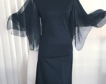 Vintage Vampy Black Angel Sleeve Gown -- 1960's 1970's Hollywood Glamor Size M
