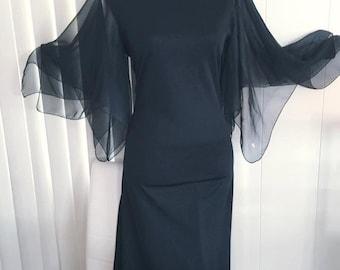 Vintage Vamp Black Angel Sleeve Gown -- 1960's 1970's Hollywood Glamor Size M