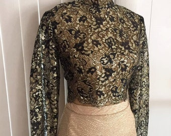 Vintage 50's 60's Gold and Black Risque Sheer Cropped Blouse
