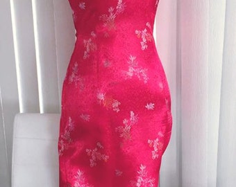 Vintage Chinese Red Asian Cheongsam Wiggle Dress -- Size M