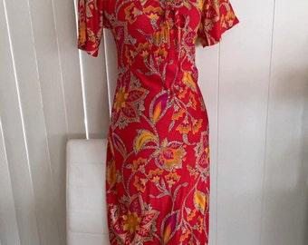 Lovely Vintage 1960's Boho Maxi Wiggle Dress -- Beautiful Piece -- Size M