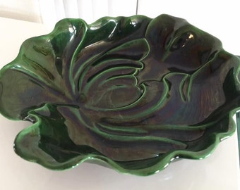 Vintage California Pottery Leaf Shaped Ceramic Dish -- Mid Century - Villa Vista Pottery