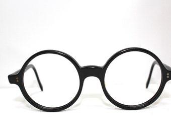 Vintage 1940s Eyeglasses // 30s 40s Black Round Lens Frames // Antique Eyeglass Frames // RH222