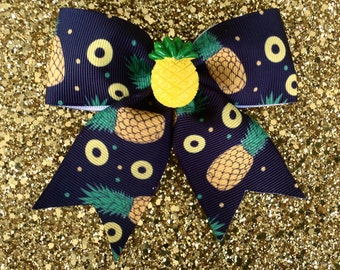 Pineapple Tropical Explosive Delight Hair Bow - Black - Retro - 50s - Pinup - Kitsch