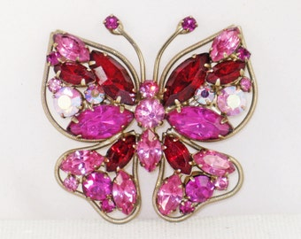 Vintage Pink and Red Rhinestone Butterfly Brooch Pin (B-4-4)