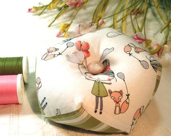 Pincushion, Biscornu -My Fox and My Balloon, Double sided with emery-Ready to Ship