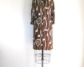 1960s Mod Vintage Dress Op Art Print Brown White Autumn Shift Dress XS