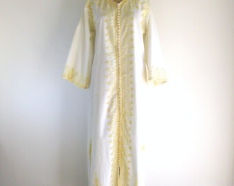 1960s Embroidered Maxi Dress / Vintage Dress / White Yellow Bohemian Bell Sleeve Ethnic Caftan L