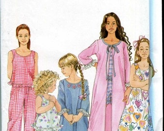 Simplicity 9292 Girls nightgown, robe, and pajama pattern - UNCUT - Sizes 3-6 incl.