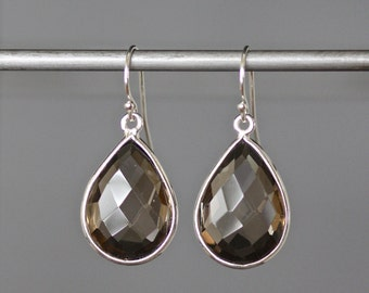 Smokey Quartz Bezels - Smokey Quartz Earrings - Silver Bezels - Bridal Jewelry - Faceted Gemstone Earrings - June Birthstone Jewelry