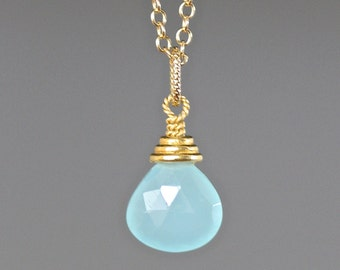 Aqua Chalcedony - Chalcedony Pendant - Gold Vermeil Pendant - Chalcedony Necklace - Single Stone Necklace - Wire Wrapped Pendant Gold - Gift