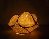 Paper light sculpture, paper sculpture, abstract sculpture, milkweed, paper, lighting,