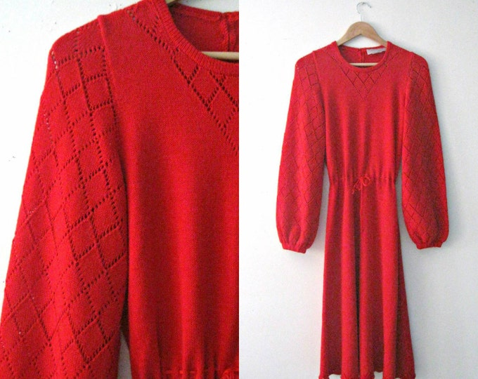Vintage 60s red sweater dress / pointelle red bell sleeve 60s knit dress / Boho Hippie sweetheart dress