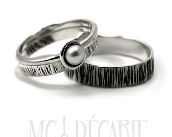 His and Hers: two textured bands, one with a pearl, 1 engraving included on each ring, wedding bands, promise rings