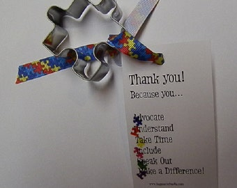 Mini Autism Puzzle Piece Cookie Cutter with Thank-you