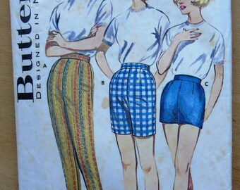 60's Shorts, Jamaica Shorts and Slim Tapered Pants Pattern - Butterick 9779 - Waist 30 Hip 40 - Pedal Pushers - Short Shorts - Fitted Shorts