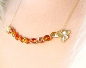 RESERVED For Doris -Fire Opal Swarovski Crystal and Gold Necklace, Glowing Swarovski Crystals