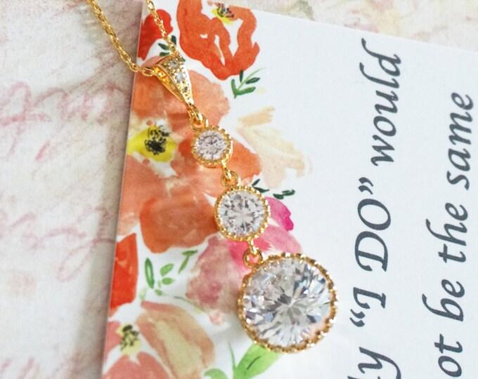 Kade - Gold Round Cubic Zirconia Necklace, Bridal Brides Wedding Bridesmaid crystal necklace, Clear White Large Cubic Zirconia Crystal