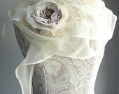 SALE - 100% SILK structured organza scarf with rose pin by FAIRYTALE13 - romantic feel vintage inspired party/wedding - handmade in the Uk.
