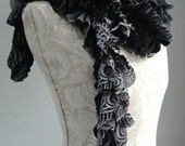 SALE - Patchwork petal scarf by Fairytale13 - black and grey stripe, lace and print mix - handmade in the Uk.