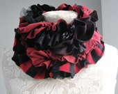 SALE - Patchwork petal scarf by Fairytale13 - black and red, deep purple, stripe jersey, lace and textured jersey mix - handmade in the Uk.