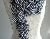 SALE - Double Ruffle SCARF by FAIRYTALE13 - navy blue and white nautical stripe jersey.