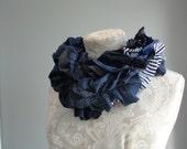 SALE - patchwork petal SCARF by FAIRYTALE13 - navy blue/white nautical stripe jersey, black,grey,lace.