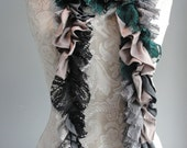 SALE - patchwork petal SCARF by FAIRYTALE13 - greys, black, taupe & green - jersey and lace.