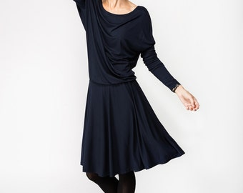 Blue dress | Knee length dress | Blue long sleeve dress | LeMuse blue dress