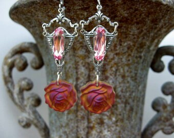 Frosted glass rose Dangle Earrings with Swarovski Jewels - E77