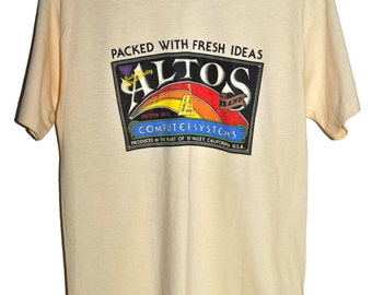 Vintage 70s 80s ALTOS COMPUTER SYSTEMS Silicon Valley California T Shirt Mens Medium M Extremely Rare