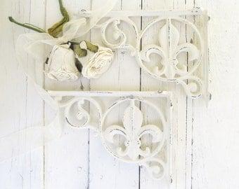 Fleur De Lis Shelf Brackets, White Shelf Brackets, Corner Bracket, French Country, Paris Apartment, Cottage Chic, Iron Bracket, Rustic