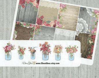 FULL BOX Shabby Chic Planner Stickers with Bonus Flowers in Jars