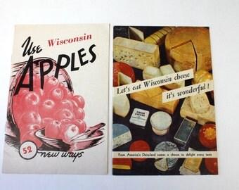 Vintage Wisconsin Apple Recipe Booklet & Wisconsin Cheese Booklet, Rustic Apple Recipes,Eat Wisconsin Cheese Recipes, Wisconsin Ads, 1950s