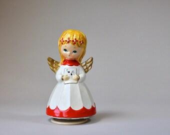 Vintage Christmas Angel Music Box, Silent Night Revolving Angel, Christmas Figurine, Made In Japan
