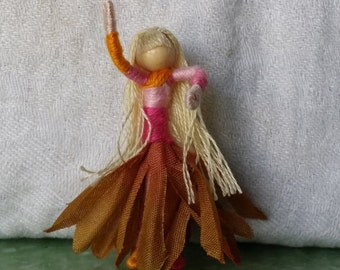 Miniature collectible 2 inch mini Flower Fairy, Art Doll, 2 inch doll, Waldorf, Art Doll, Worry Doll