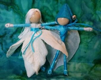 Turquoise Christmas fairy and elf, Christmas Waldorf doll