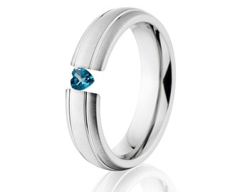 Tension Set Ring, Uniquley You, 6mm,  Titanium Ring, Heart Blue Topaz, 6HR2G-XB-HRT-Tension