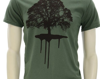 Oak tree. Men's T Shirt. Dripping Roots art by MATLEY. Big Sizes. Tall sizes. Gift for him. Nature tee. Tree. Oak. Hugger.