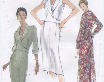 Vogue Wrap to Back Tie Lined Collar Dress Sewing Pattern Size 14 16 18 Vogue 7012, UNCUT, Sleeveless, Long Sleeve, Mid Knee, Mid Calf Length