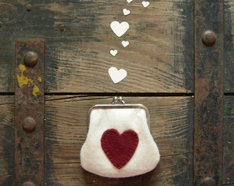SALES more than 50% OFF, Love pouch, heart pouch, red heart coin purse cream felt coin purse with red felt heart, Kiss Lock Wallet