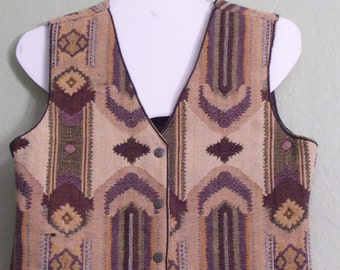 Vintage Southwest Vest. New Identity. Size L. Cropped. Tribal Ethnic. Earth Colors. Dk Brown. Camel Tan. Green Gray. Boho Chic. Hippie Vest.