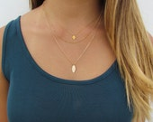Minimal Layering SET- Tiny Hamsa Hand Necklace, Beaded Satellite Chain Necklace and Lotus Flower Petal Necklace